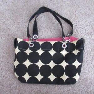 Handbags - Black and White Polka Dot Handbag/Purse